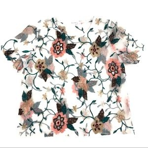 Glance embroidered floral mesh top sz XS